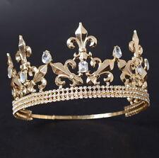 Men's Imperial Medieval Fleur De Lis Gold King Crown 8cm High 15-17cm Diameter