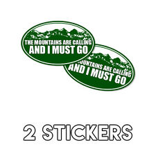 The Mountains Are Calling and I must Go Funny Hiking Decal Sticker 3x5 2 Pack