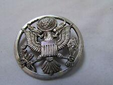 Marine Eagle Hat Badge Screwback Silvertone
