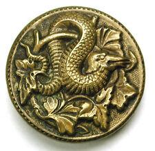 "Antique Brass Button Detailed Coiled Snake in Bush Design - 11/16"""