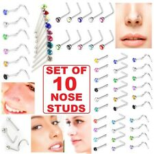 10 x Nose Studs Surgical Steel Set I L Screw Shape Straight Silver Gold Ball End