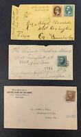 U.S., Lot of 3 Registered Bank Note Covers Used Between 1880 and 1899