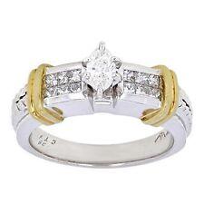 18k White & Yellow Gold 0.63ctw Mixed Cut Diamond Engagement Ring