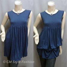 CM Style 2 Way Empire Waist Ruched Drapey Flowy Tunic Frock Top Blue S