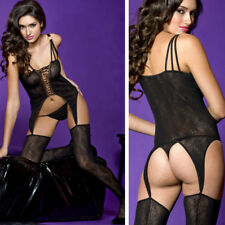 Sheer Lace Up Front Spider Web Witch Suspender Body Stocking Halloween Costume