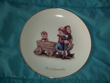 M.J. Hummel Pleasant Journey Plate Gold Rimmed 8''