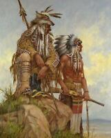 """Native American Watching Pony Soldiers Digitally Printed Fabric Panel 36"""" x 44"""""""
