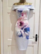 LIPSY Baby Blue Bardot Floral Pencil Party Evening Dress SZ 4 6 8 10 12 14 16 18