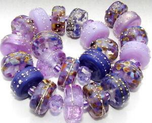 "Sistersbeads ""M-Purple Granite-Large"" Handmade Lampwork Beads"