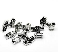 "10 Nice Silver Tone Thors Hammer European Beads 27x21mm(1 1/8""x7/8"")"