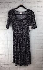 LuLaRoe, NEW With Tags; Nicole Dress, Small; Black With White Geometric Deign