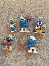 Bundle of plastic vintage smurf toys including some Schleich - Clown