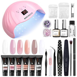 Modelones Poly Extension Gel Nail Kit - 6 Colors with 48W Nail Light Nail Lamp