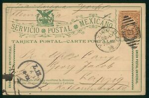 MayfairStamps Mexico to Leipzig Germany 1888 Stationery Card wwp62325