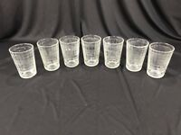 Vintage Set of 7 Mid Century Clear Faceted Juice Glasses 4""