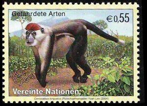 United Nations 2004 MNH, Endangered Wild Animals Red-capped Mangabey, Monkey