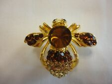 "Insects Enamel Pins/Brooch Gold P #124 Crystal Brown & Clear Rhinestones ""Bee"""
