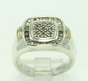 Natural Diamond Sterling Silver 10k Gold Square Face Step Band Ring .30 CT S 8.5