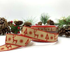Scandinavian Reindeer Ribbon Scandi Nordic Christmas Cake Gift Bow Deer Xmas