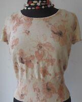 Rena Rowan Women's Knit Top Short Sleeve Pullover Floral Print Beige Size Medium