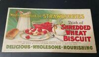 Vintage 1919 Market Strawberries Shredded Wheat Biscuit Advertising Postcard