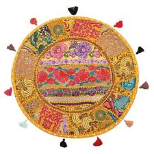 Indian Vintage Round Floor Cushion Cover Couch Patchwork Bohemian Cotton 22x22