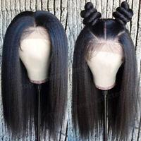 Glueless Full Wigs Light Yaki Straight Brazilian Remy Human Hair Lace Front Wig