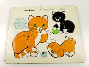 """Vintage Fisher Price """"Cat And Kittens"""" #567 Wooden Puzzle 6 Pieces Rare"""