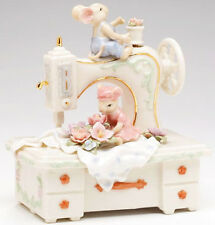 ♫ MUSIC BOX Porcelain MICE SEWING MACHINE Vintage Style MUSICAL FIGURINE Flower
