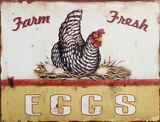 "TIN SIGN ""Farm Fresh Chicken Eggs ""Food Art Deco Garage Wall Decor"