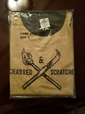 DeWar's White Label Scotch Whisky T-shirt Charred Scratched Cast 1846 Reversible