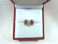 2.25 ct Pink & White Cubic Zirconia Rhodium Plated Sterling Stud/Post Earrings