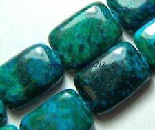 10x14mm Azurite Chrysocolla Gemstone Rectangle Loose Bead 15''