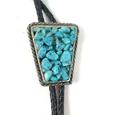 Mens Bolo Tie Turquoise Chips & Stone Western Cowboy