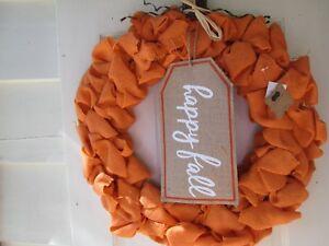 "Fall Thanksgiving Burlap Wreath ""Happy Fall"" by Mud Pie, NWT"