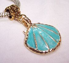 Scallop Shell Blue Enamel Seashell Beach Gold Dangle Charm for European Bracelet
