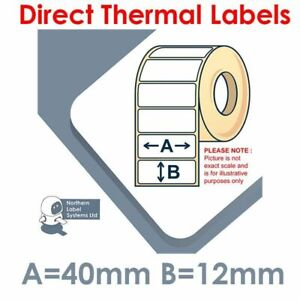 40mm x 12mm REMOVABLE Direct Thermal Labels 2,500 per roll for small printers