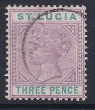 ST LUCIA QV 1891 3d dull mauve & green Die 2 sg47 vfu