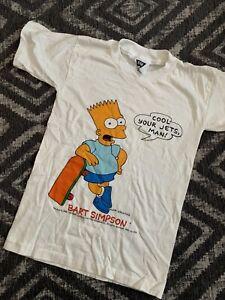 VTG Simpsons Bart Simpson Homer 90s Single Stitch T Shirt Youth Deadstock Rare