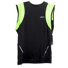 Asics Running Tee Black Yellow Sleeveless Men's size L Nwt