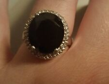 Black Spinel Oval & White Topaz Accent Ring Set in 925 Sterling Silver-Size 7