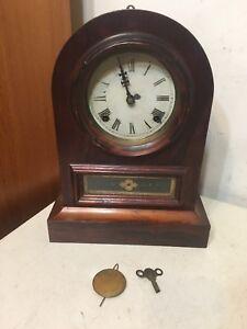 Rare Jerome & Co Gothic Arch Cottage Clock With Gutta Percha Insert