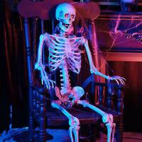 5 ft. Halloween Life Size Skeleton LED Lit Eyes Hanging Prop Haunted House Decor