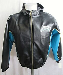 Jacksonville Jaguars Youth Faux Leather Hooded Jacket Size XL NFL