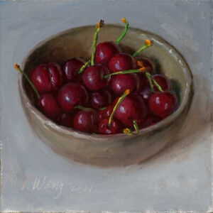 original daily painting a day contemporary still life realism cherry 6x6 Y Wang