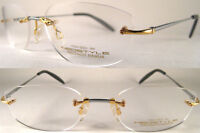 Luxury Neostyle Rimless- 18K Real Gold/Titan - inGold/Silver Grey  -UVP ca.2500€