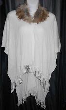 Womens Cape Shawl Knit Wrap Faux Fur Collar Ivory Croft & Barrow One Size NWT