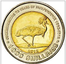 UGANDA 1000 SHILLINGS 2012 BIRD GREY CROWNED CRANE 50 Y INDEPENDANCE BIMETALLIC