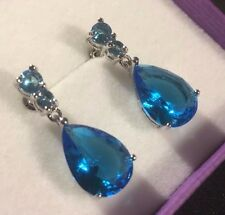 Large pear aquamarine silver / white gold gf dangle drop earrings Plum UK BOXED