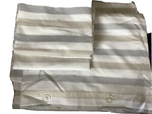 2 Marks And Spencer Single Grey And White Stripe Duvet Covers With 2 Pillowcases